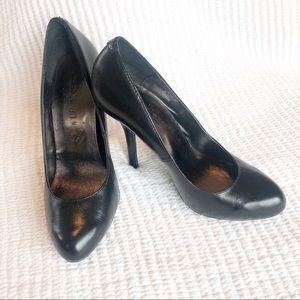 Black leather Cathy Jean heels.